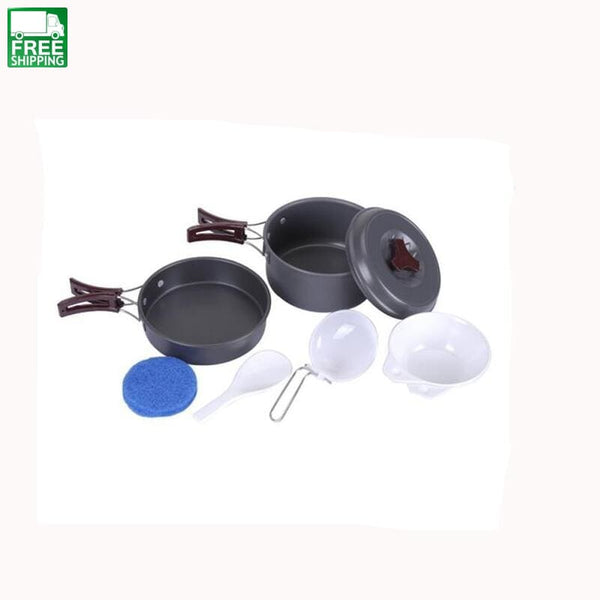 2 Person Camping Cooking Pot Cookware Pots Sets Camp Kitchen