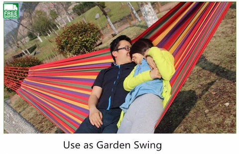 2 Person Hammock Leisure Bed Hanging Double Sleeping Canvas Camping Hammocks