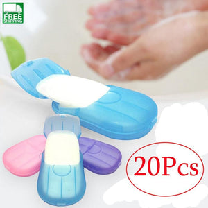20Pcs Outdoor Travel Soap Scented Slice Sheets Paper Washing Hand Bath Clean Outdoor Camping