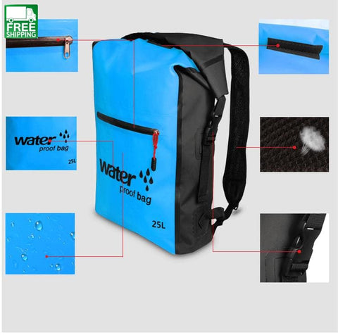 25L Dry Bag Backpack Sack Storage Rafting Outdoor Camping
