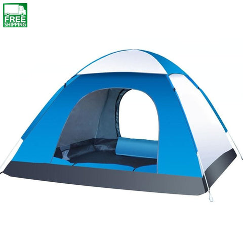 3-4 Person Automatic Tents Family Beach Camping Double Speed Blue Grey Tent