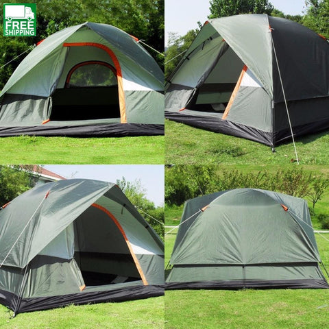 3-4 Person Camping Tent Dual Layer Pop Up Open Anti Uv Tent