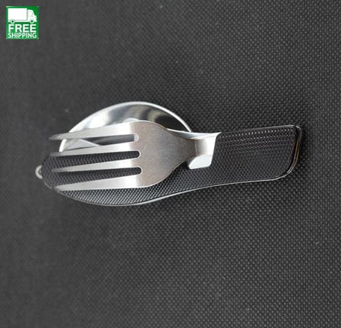 3 In 1 Stainless Steel Spoon Fork Knife Tableware Multi Tool For Travel Camp Kitchen