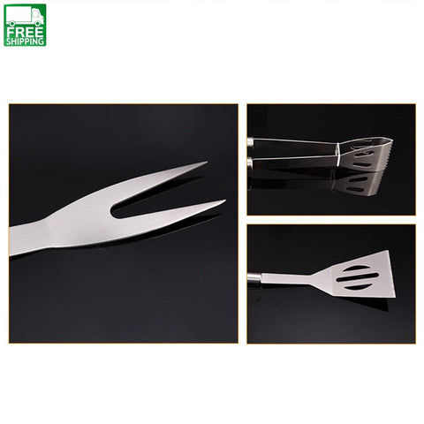 3Pcs Convenient Grilling Tool Set With Fork Tweezers Turner - White Camp Kitchen