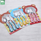 3Pcs/set Tableware Fork + Knife With Box Set Best Cartoon Camp Kitchen