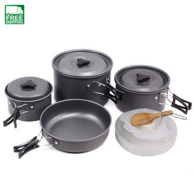 4-6 Persons Outdoor Camping Cooking Set Cookware Non-Stick Pots Camp Kitchen
