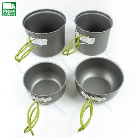 4Pcs Outdoor Cookware Backpacking Cooking Picnic Camp Kitchen