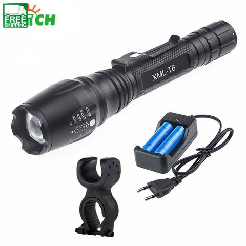 5000Lm Cree Xml T6 Hard Light Flashlight Led Spotlight Military Zoom Lights & Lanterns