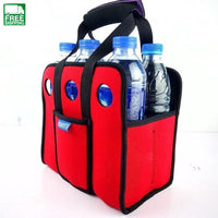 6 Beer Can Outdoor Ice Gel Picnic Wine Box Chillers Frozen Bag Lunch Red Camp Kitchen