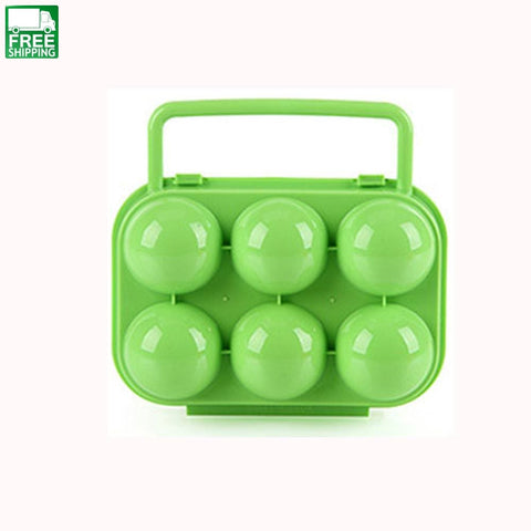 6 Eggs Plastic Container Holder Folding Egg Storage Box Camp Kitchen