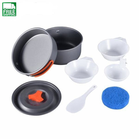 8Pcs Backpacking Cooking Picnic Outdoor Cookware Bowl Pot Pan Set Default Camp Kitchen