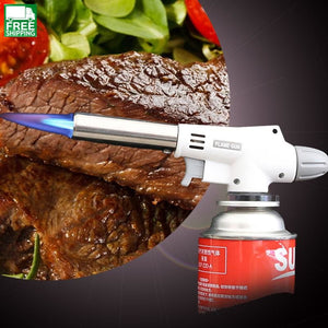 Automatic Electronic Flame Gun Butane Burners Gas Adapter Torch Camp Kitchen