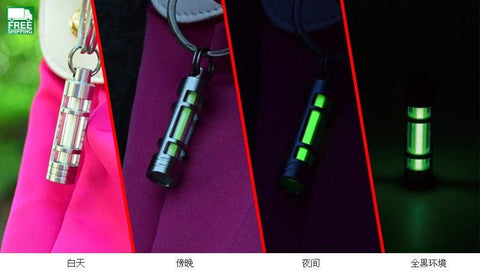 Automatic Light Titanium Keychain Key Ring Fluorescent Tube Outdoor Camping