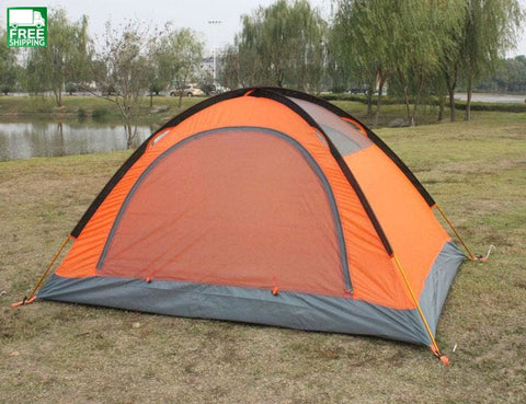 Beach Tourist 2 Person Tent Winter Polyester Aluminum Double-Layer Camping Tent