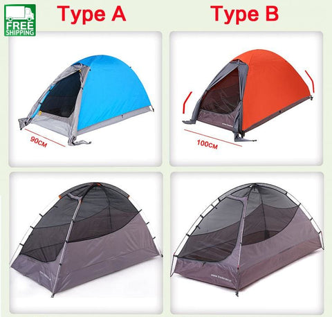 Camping Tents Double Layers 1 Person Waterproof Ultralight Outdoor Riding Orange 100Cm Tent