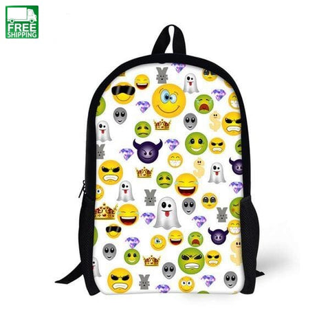 Canvas Backpack 3D Cartoon Emoji Smiley School For Teenager Cc3265C Camping Backpacks