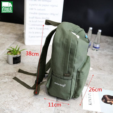 Canvas Backpack Female Large School Bag For Girls Supplies Denim Backpacks & Bags
