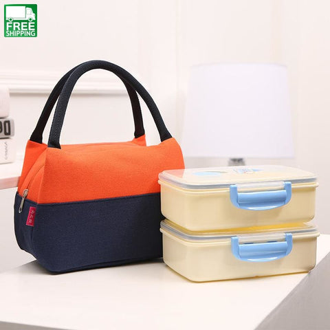 Canvas Lunch Bag Thermal Food Picnic Lunch Bags For Women Kids Men Orange