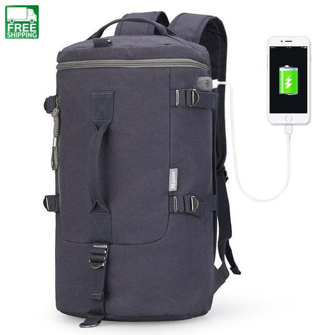 Capacity Travel Bag Cylinder Package Rusksack Male Fashion Backpack Camping Backpacks