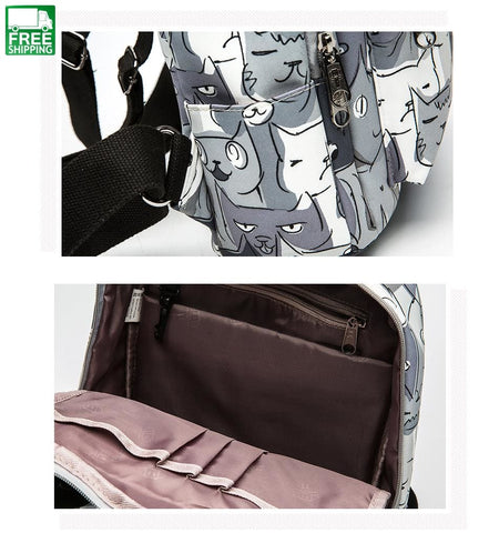 Cat Animal Printing Backpack Teenage Girls School Bag Women Travel Camping Backpacks