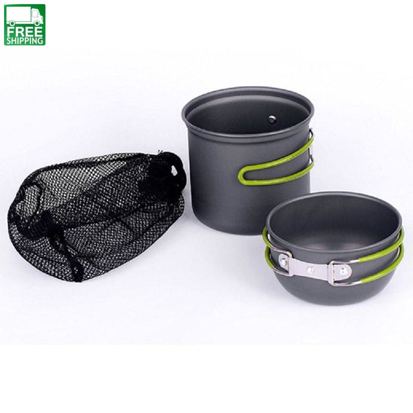 Cookware Aluminum Non-Stick Pots Pans Bowls Picnic Camp Cooking Set 2 Pcs/set Kitchen