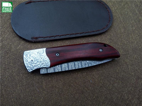 Damascus Knife Wood+Steel Handle Blade Survival Camping Hunting Knives