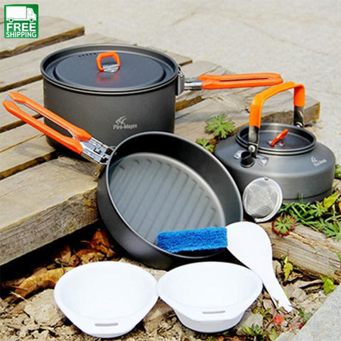 Fire Maple 2-3 Person Medium Pot & Frying Pan Tea Cook Set Tableware Camp Kitchen