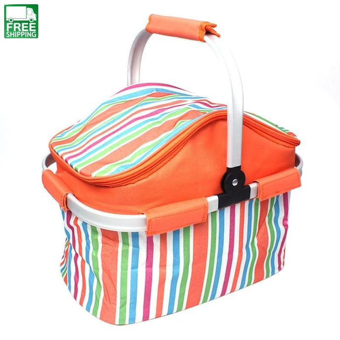 Insulated Picnic Basket Lunch Bag Tote For Outdoor Orange Picnic Bags