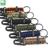 Keychain Carabiner With Parachute Cord And Fire Flint Safety & Survival