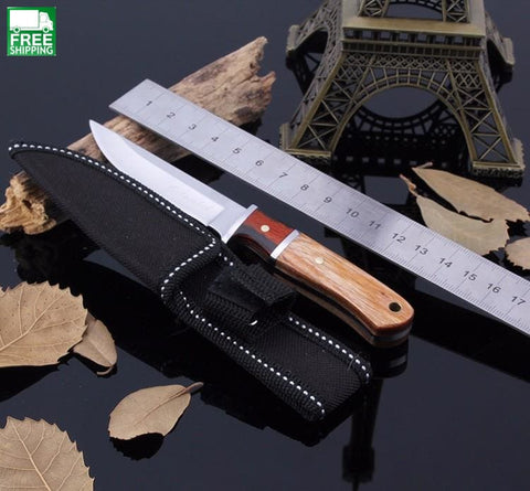 Knife Camping Hunting Survival With Wood Handle Knives