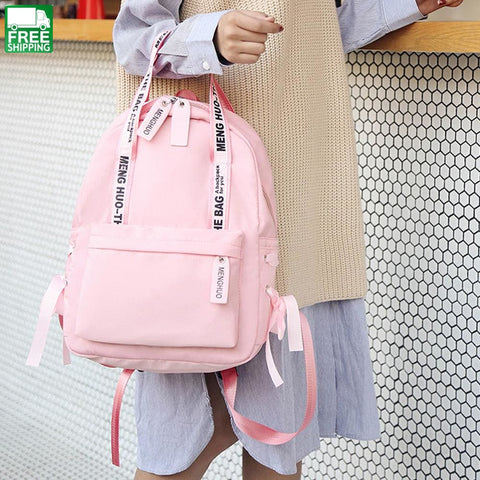 Large Capacity Backpack Women Preppy School Bags For Teenagers Female Nylon Pink / 19 Inch Camping