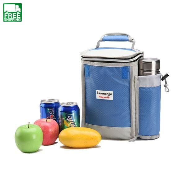 Lunch Bag Thermal Insulated Picnic Tote Bags For Man Women Kids Food Blue Color Bags