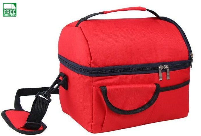 Lunch Box Tote Bag Meal Prep Cooler Picnic Red Picnic Bags