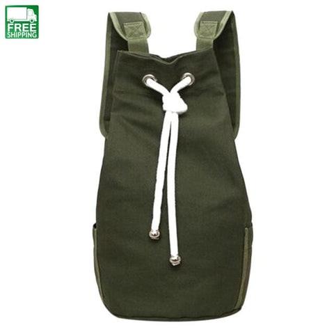 Men Canvas Backpack Large Capacity Barrel Army Green String Camping Backpacks