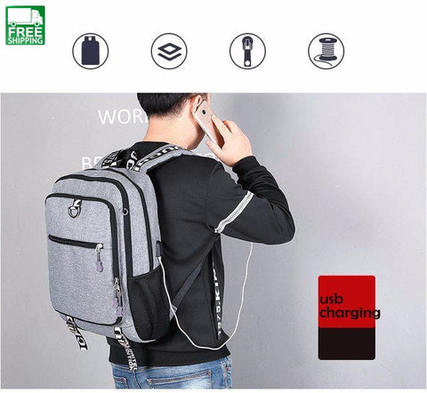 Men Youth Fashion Multifunctional Oxford Casual Laptop Backpack School Usb Backpacks & Bags