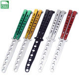 Metal Practice Butterfly Knife Training Folding Dull Tool Bule Knives