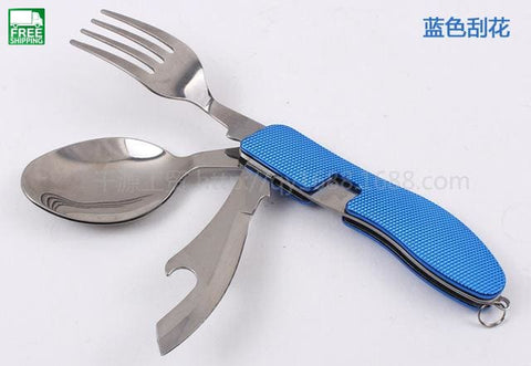 Multi-Function Picnic Tableware Stainless Steel 4 In 1 Folding Spoon Fork Camp Kitchen