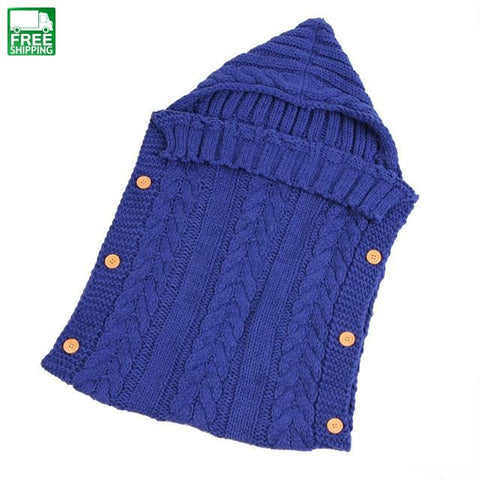 Newborn Baby Sleeping Bag Winter Warm Knitted Hoodie Swaddle Wrap Cute Baby Sleeping Bag