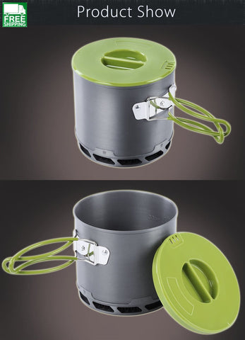Non-Stick Camping Pot Cooking Set For 1- 2 Person Picnic Pan Camp Kitchen