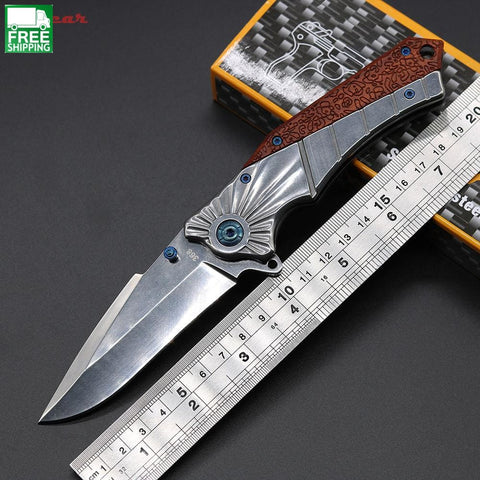 Pocket Knife 440C Mirror Light Blade 2 Colors Silver & Gold Steel With Wood Knives