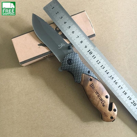 Pocket Knife Wooden Handle Camping Survival Edc Outdoor Hunting Knives