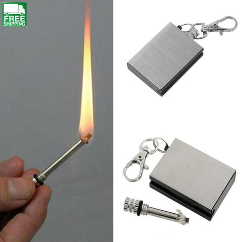 Safety Durable Emergency Fire Starter Flint Match Lighter Metal & Survival