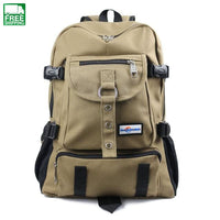 Shouider Strap Zipper Solid Casual Bag School Canvas Backpacks For Men Khaki Camping