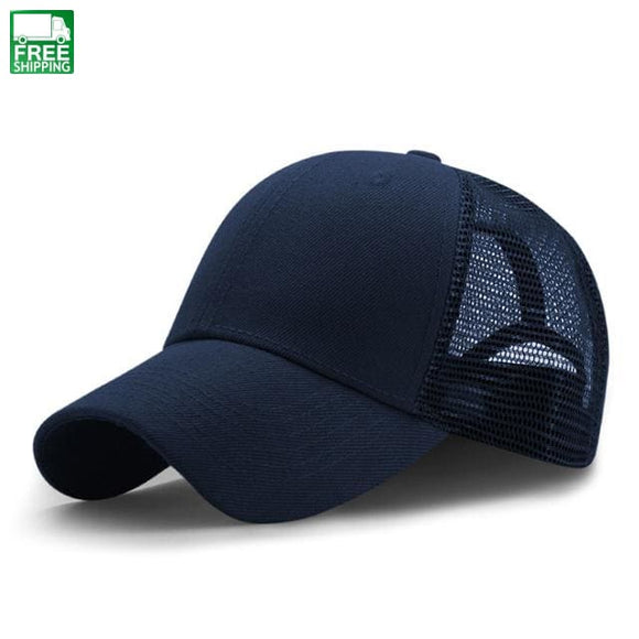 Sport Mesh Baseball Caps Men Or Women Outdoor Snapback Bone Breathable Dark Blue Hiking Camping Hat