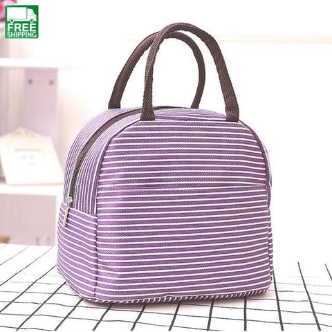 Stripe Thermal Insulation Bags Outdoor Travel Picnic Bag Camping Coolers Blue / Other Picnic