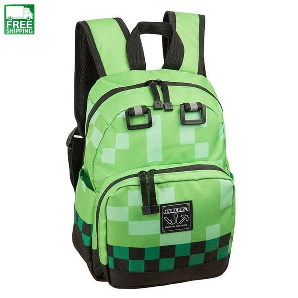 Student Minecraft Cartoon Backpack Boy School Bags Green Backpacks &