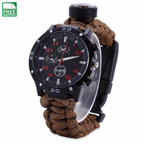 Survival Bracelet Watch Compass Rescue Rope Paracord Equipment Tools Kit Safety & Survival