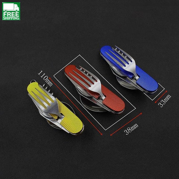 Tableware Spoon Fork Knife Set Portable Travel Steel Pocket Camp Kitchen