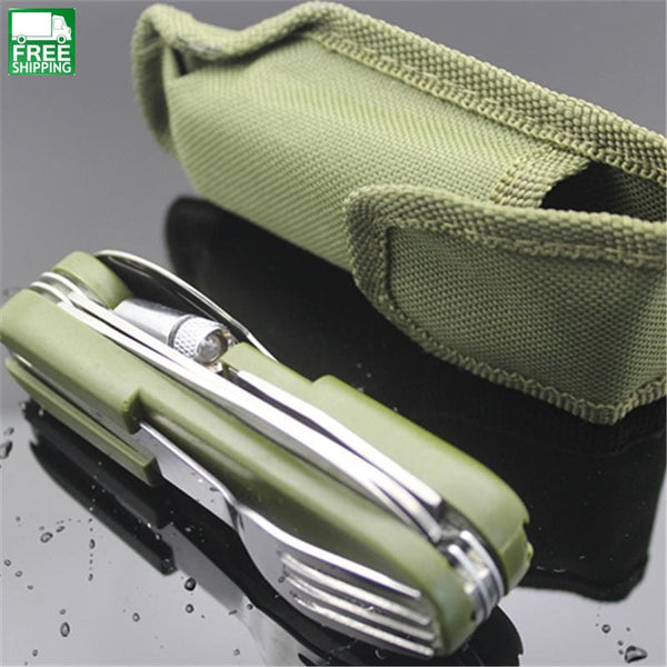 Tableware With Stainless Folding Camping Tool Multi Function Dinnerware Fork/spoon/knife/ Bottle