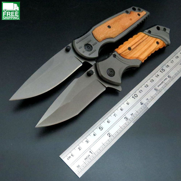 Tactical Knife Pocket Hunting Camping Survival Tool Steel Blade Wood Handle Knives